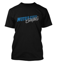 "A black T-shirt with ""Motor City Swag"" in speedy text."