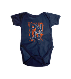 A baby onesie with PNUT printed on it.