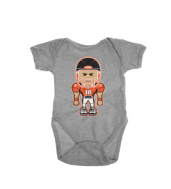 A heather gray onesie with Peyton Manning on it.